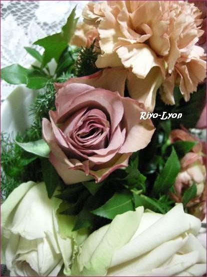 バラやカーネーション。シブい色の組み合わせ!
